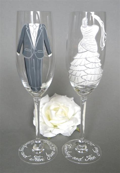 Items similar to Hand painted Bride and Groom bridal